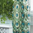 Peacock-Inspired Long Neck Tall Stoneware Vase with Jewel Accents Set of 2 New