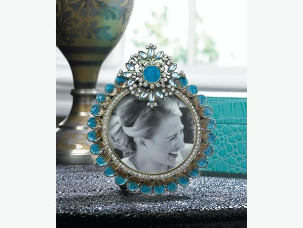 3X3 Peacock-Inspired Photo Picture Frame Turquoise with Jewel Accents 6 Lot New
