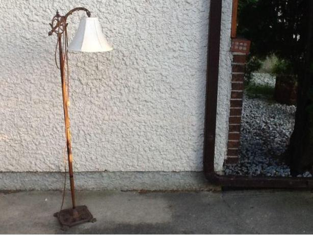 FLOOR STANDING BRIDGE LAMP WITH IRON BASE - VINTAGE ITEM