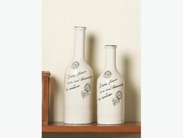 Country Chic Scripted Porcelain Long Neck Bottle Shape Vase Large Small 4PC Mix