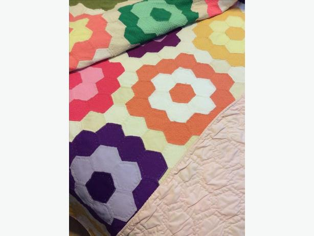 Patchwork Twin Double Vintage Bed Quilt