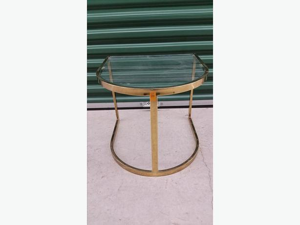 1980s Vintage Glass & Brass U-Shaped Accent Table
