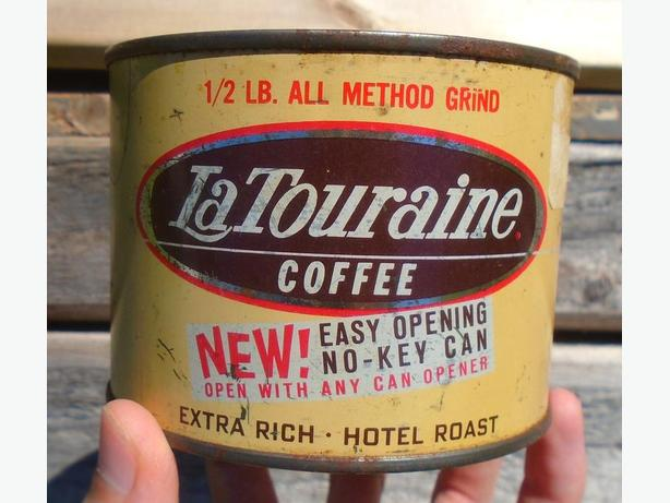 VINTAGE 1960's LA TOURAINE COFFEE (1/2 LB.) TIN CAN