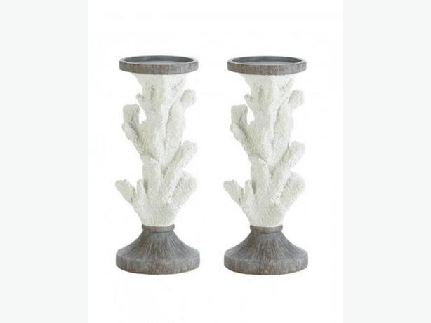 Sculpted Faux Coral Branch Candlestick Figural Ornament Ocean 3PC Mix White New