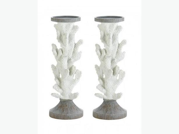 Tall Sculpted Faux Coral Branch Candlestick Figural Ornament Ocean 3PC Mix White