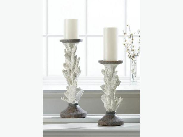 Sculpted White Faux Coral Branch Candlestick Lg&Sm Ornament 3PC Mixed Ocean New