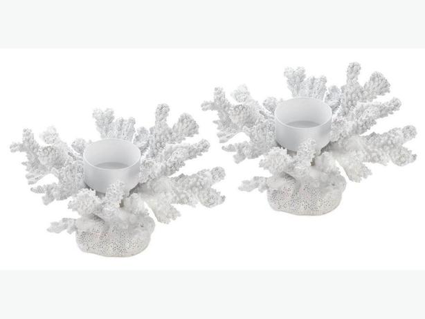 Sculpted White Faux Coral Branch Candleholder 2 Styles 4PC Mixed Lot New