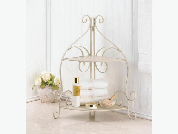 2-Tier Versatile Corner Shelf Ivory Metal with Scrollwork Detailing 2 Lot New