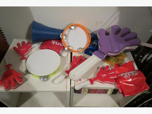 Sports fan clappers, and other noise makers for crazy fans.