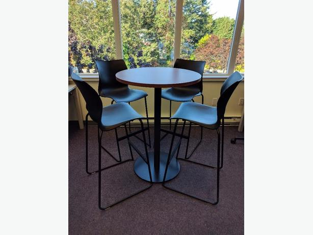 Tek Form Standing Height Meeting Table With High Chairs Victoria - Standing height meeting table