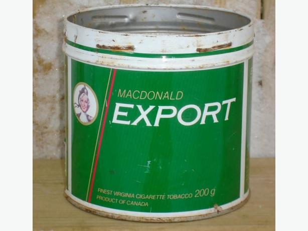 VINTAGE 1980's MACDONALD'S EXPORT CIGARETTE TOBACCO (1/2 lb) TIN
