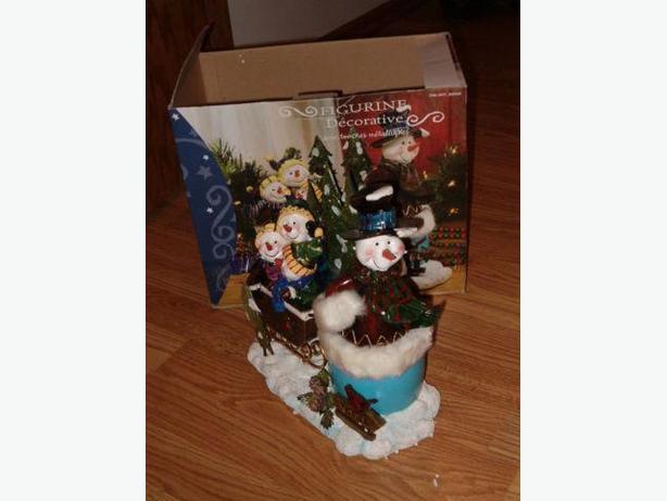 snowman & three snow-children decorative larger figure