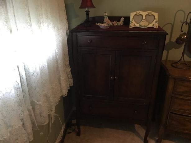 Antique vanity and armoire dresser