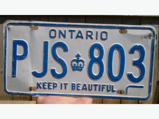"""VINTAGE 1978's ONTARIO """"KEEP IT BEAUTIFUL"""" LICENSE PLATE PJS-803"""