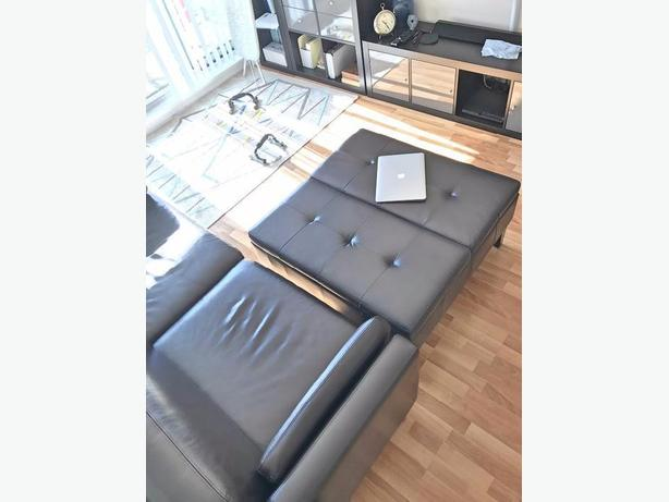 Leather couch + ottoman