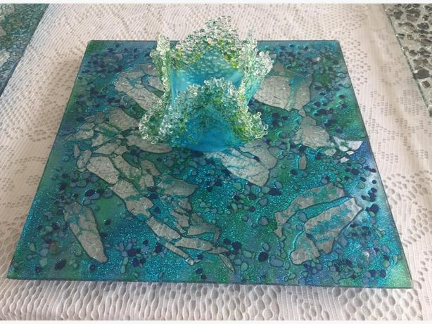 Exquisite Glass Platters, Wall Hangings & Rolling Tray