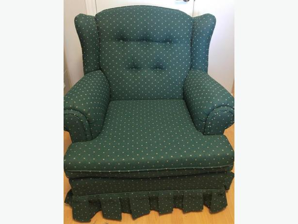 CHESTERFIELD, CHAIR & MATCHING PILLOWS (Like new - barely used)