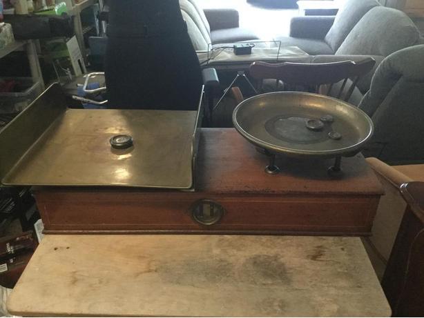 Oak and brass scale