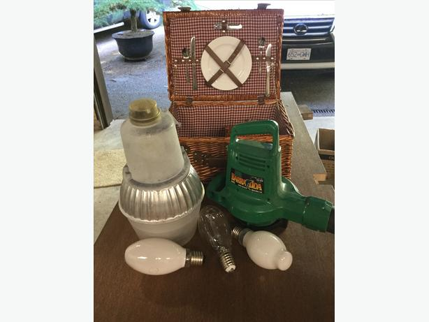 Yard light $50, blower $40, picnic basket $20, water filter $20