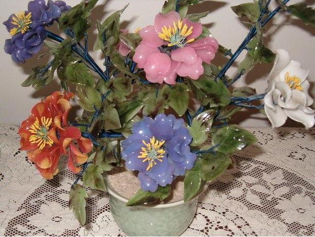 flowers- glass bouquet art oriental Asian tree,