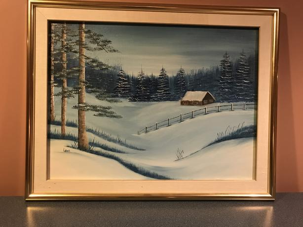 "WINTER ART FRAMED CANVAS 28"" X 22"""