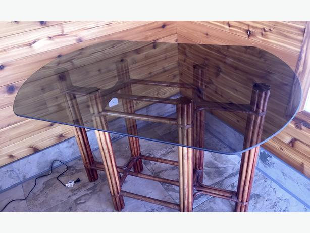 Rattan Glass Top Table