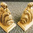 Gold Wall Sconces. Intricate Carving / Vintage Motif SOLD
