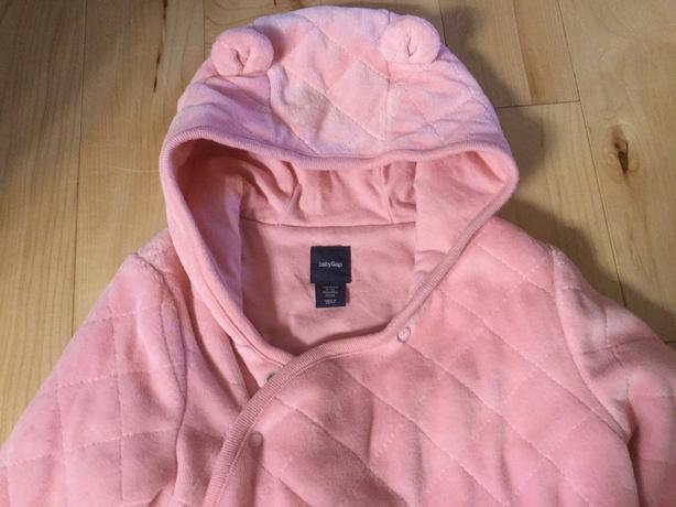 Quilted Pink Bear One Piece Snuggly Suit- GAP brand - size 6-12 months