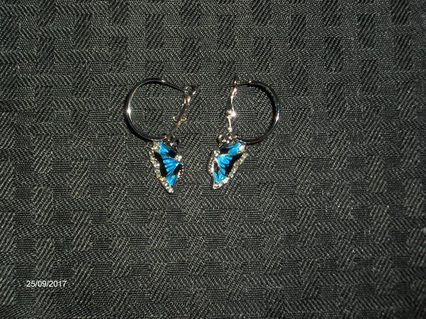Blue Crystal Rhinestone Enamel Butterfly Dangle Hoop Earrings