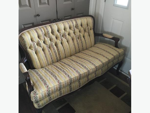 Antique Victorian Style Sofa with Chair