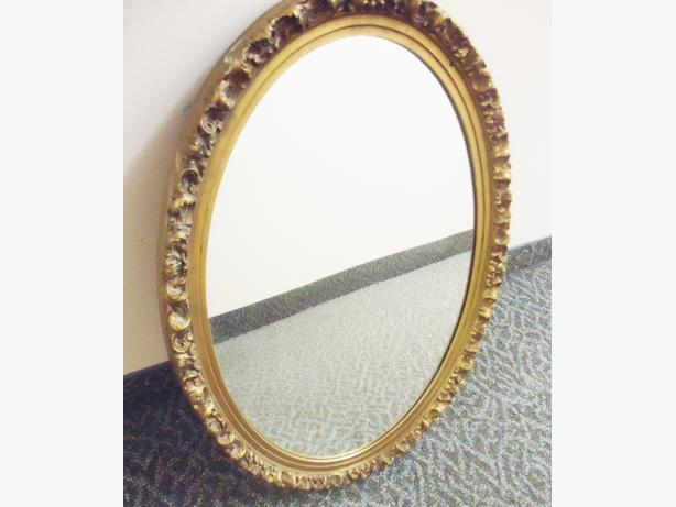 Oval Wall Mirror - Ornate Gold Wood Frame - Like New