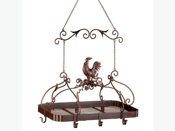 Hanging Kitchen Pot Rack Country Rooster Chicken Brand New