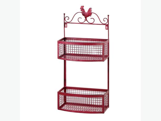 Country-Style Red Rooster Wall Rack & Paper Towel Holder 2PC Mixed New