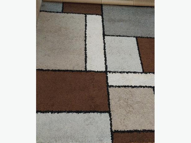 5x8 Neutral Palette Mondrian Style Rug