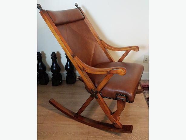 Handsome Wood and Leather Rocking Chair