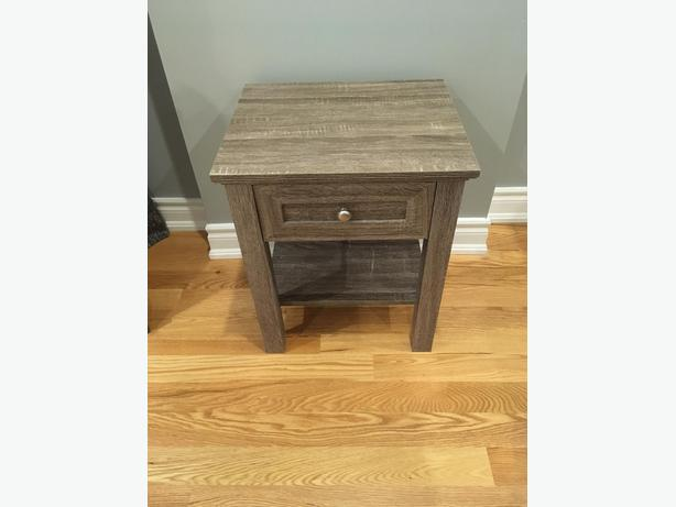 End Table w/ Faux Gray Oak Finish