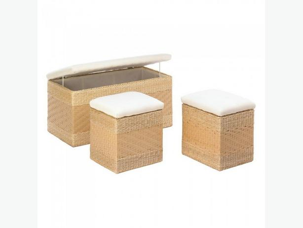 Fabric-Lined 3PC Woven Nesting Trunk Set with Padded Lids Brand New
