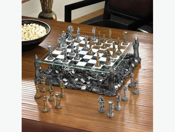 Medieval Knights Battleground Chess Set with Castle Tower Corners & Glass Board