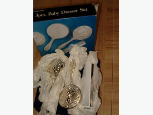 baby silver vanity set ,