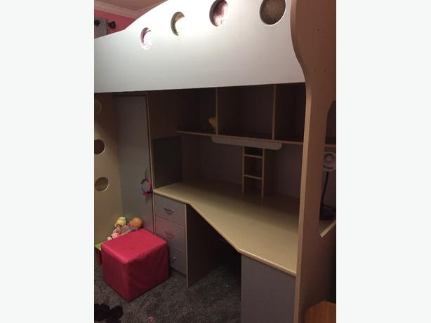 bunk bed and desk