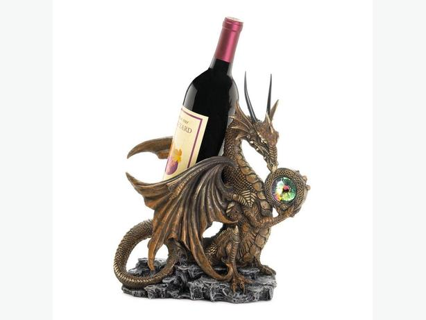 Figural Dragon Statue Wine Bottle Holder With Jewel Accent Brand New