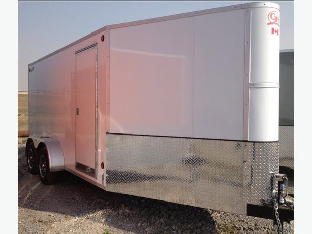 2016 CJay 7x14 Enclosed (White) Fully Sheeted Inside - 3620