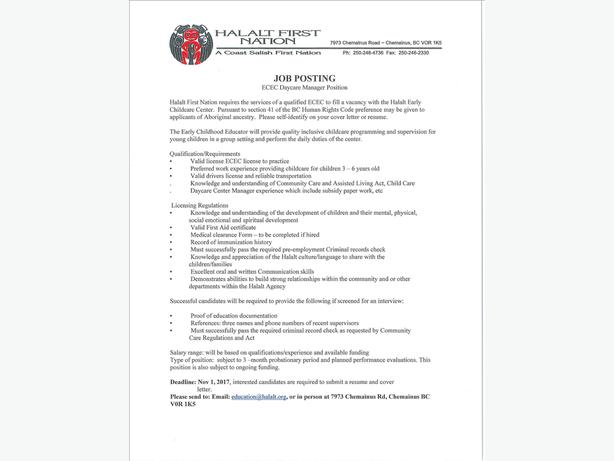 ECEC Daycare Manager Position