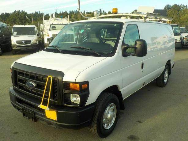 2011 Ford Econoline E-350 SD Dual Fuel Cargo Van w/ Shelving & Ladder Rack