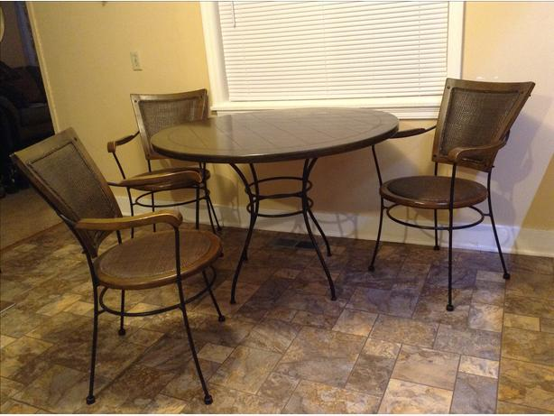 Bistro wrought iron rattan table and 4 chairs