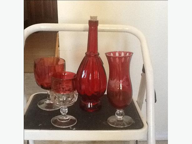 CRANBERRY GLASS ITEMS