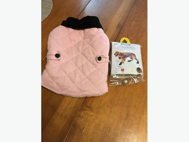pink dog coat and boots