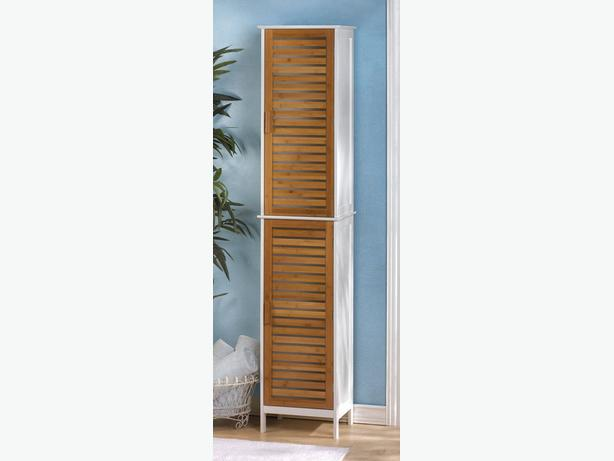 Tall Sleek Double Linen Storage Cabinet White with Bamboo Doors 75-Inches Tall