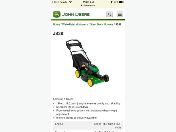 John Deere self propelling lawnmower