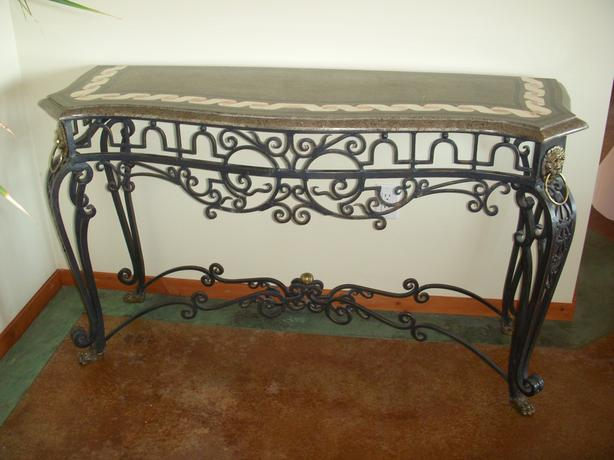 marble & wrought iron console table